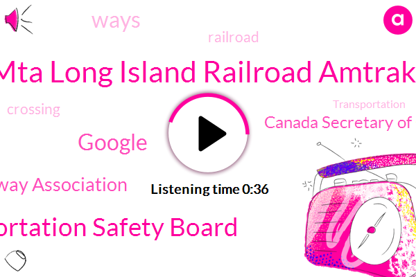 Mta Long Island Railroad Amtrak,Canada Secretary Of Communications And Transportation Mexico,National Transportation Safety Board,Google,Railway Association