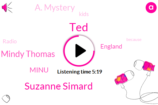 Suzanne Simard,TED,NPR,A. Mystery,Mindy Thomas,Minu,England