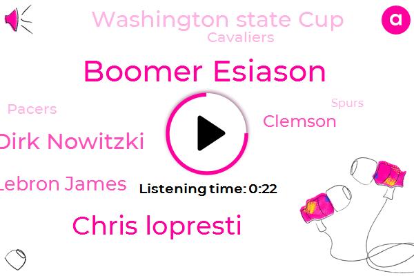 Washington State Cup,CBS,Oklahoma,Texas,Boomer Esiason,Chris Lopresti,Dirk Nowitzki,Lebron James,Clemson,Stillwater,Cavaliers,Missouri,Pacers,Florida,Spurs,Happy Valley,Kentucky,NBA,Kansas