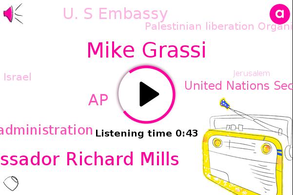 Trump Administration,Mike Grassi,Acting U. S. Ambassador Richard Mills,AP,United Nations Security Council,U. S Embassy,Israel,Palestinian Liberation Organizations,Jerusalem,Tel Aviv,Washington