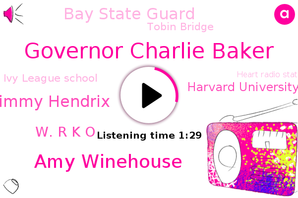 Boston,Governor Charlie Baker,Harvard University Of Intentional,Amy Winehouse,Bay State Guard,Tobin Bridge,Jimmy Hendrix,Ivy League School,Charlestown,FLU,Heart Radio Station,W. R K O