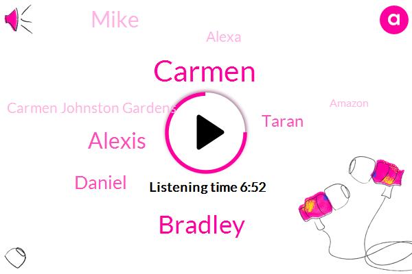 Alexa,Carmen Johnston Gardens,Amazon,Johnston Gardens,Carmen,Bradley,Developer,Prima Voice Design,Alexis,Senate,Daniel,Taran,Mike