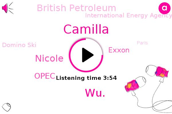 Opec,NPR,Exxon,British Petroleum,International Energy Agency,Camilla,Domino Ski,Paris,WU.,Nicole