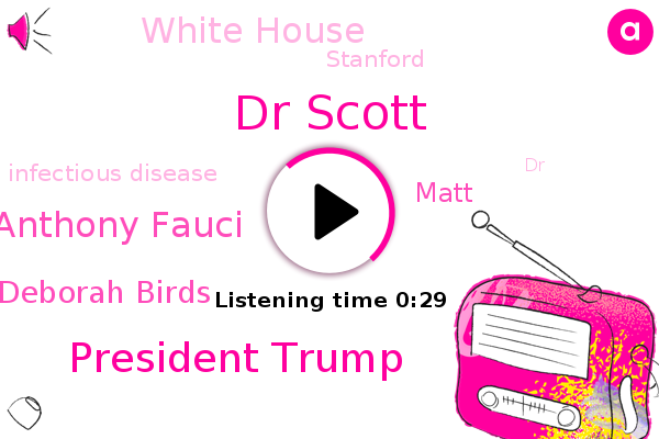 Dr Scott,President Trump,White House,Infectious Disease,Stanford,Dr Anthony Fauci,Dr Deborah Birds,Matt