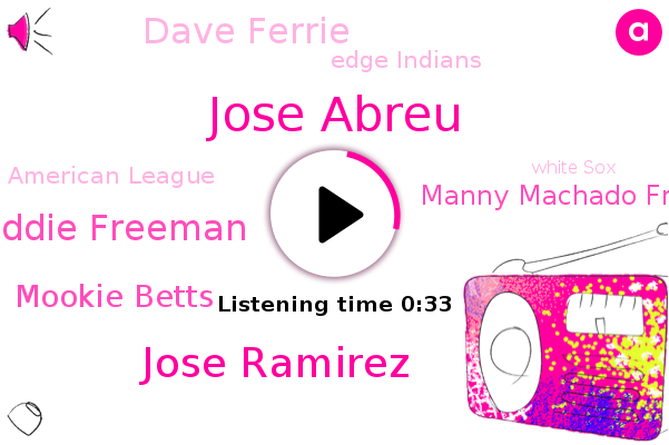 Jose Abreu,Edge Indians,Jose Ramirez,Freddie Freeman,American League,White Sox,Mookie Betts,Manny Machado Freeman,Yankees,Brady,National League,Dodgers,Padres,Dave Ferrie