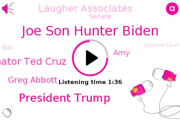 Joe Son Hunter Biden,President Trump,China,New York Post,Senator Ted Cruz,Laugher Associates,Texas,Senate,Greg Abbott,Siri,Supreme Court,Ukraine,Depression,AMY