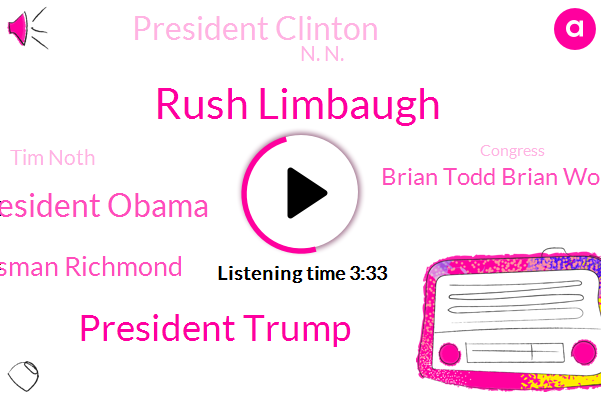 Rush Limbaugh,President Trump,President Obama,Congressman Richmond,Brian Todd Brian Wolf,President Clinton,Congress,NFL,N. N.,America,White House,United States,Russia,Tim Noth,Female Georgetown University