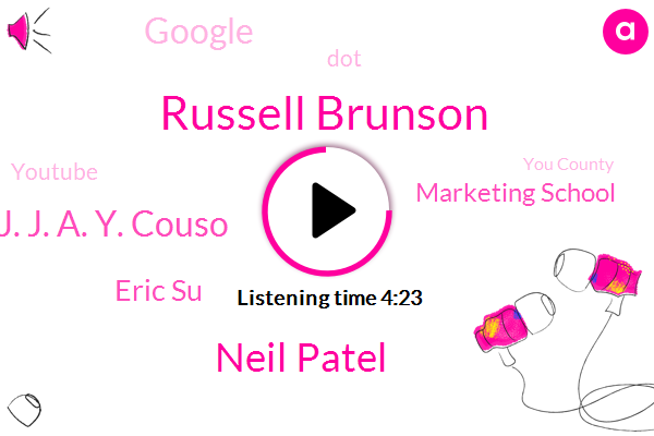 Russell Brunson,Neil Patel,You County,Analyst,Marketing School,Google,United States,DOT,J. J. A. Y. Couso,Eric Su,Youtube