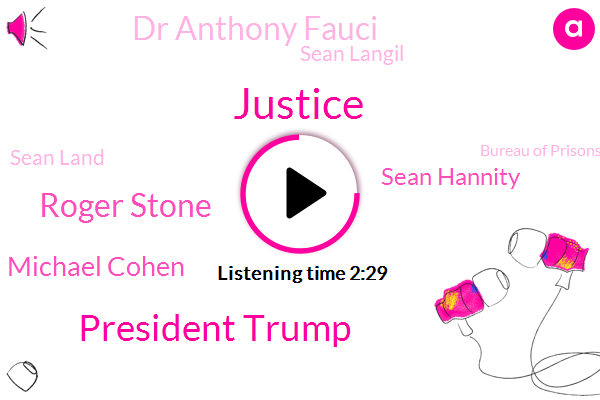 President Trump,Roger Stone,Michael Cohen,FOX,Bureau Of Prisons,Justice Department,New York,Sean Hannity,New York City,Dr Anthony Fauci,Attorney,New Hampshire,Sean Langil,GOP,Sean Land,Kentucky,Justice,Advisor,Russia