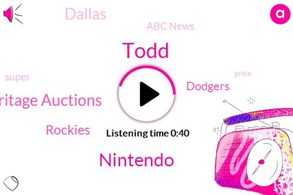 Heritage Auctions,Nintendo,Dallas,Todd,Abc News,Rockies,Dodgers