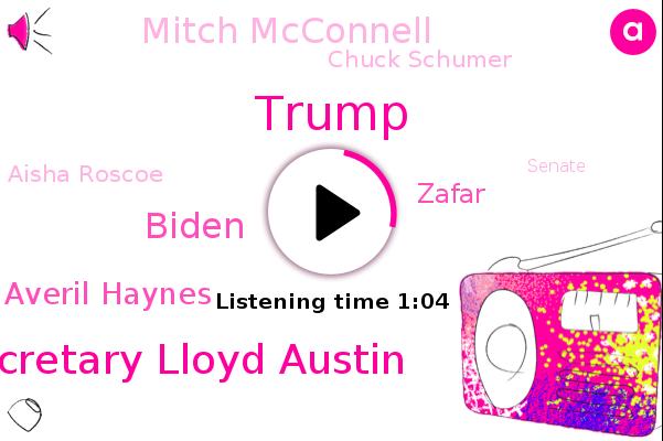 Senate,Cabinet Cabinet,Donald Trump,Defense Secretary Lloyd Austin,Biden,Averil Haynes,Sochi,Zafar,Mitch Mcconnell,Chuck Schumer,Aisha Roscoe,NPR,White House