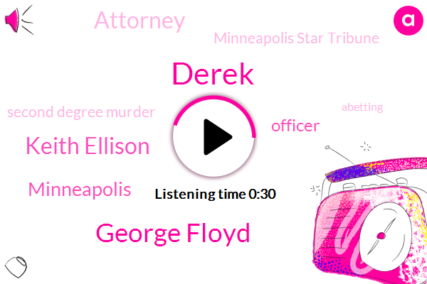 George Floyd,Officer,Derek,Minneapolis Star Tribune,Keith Ellison,Minneapolis,Second Degree Murder,Abetting,Attorney