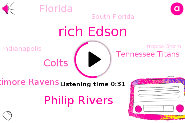 Rich Edson,Tropical Storm,South Florida,FOX,Colts,Gulf,Florida,Baltimore Ravens,Philip Rivers,Hurricane,Indianapolis,Tennessee Titans