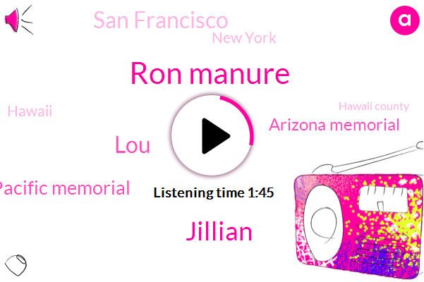 San Francisco,New York,Ron Manure,Pacific Memorial,Arizona Memorial,Hawaii,Hawaii County,Hawaiians,Jillian,LOU,One Hundred Eighty Foot,Thirty Meter,Thirty Years
