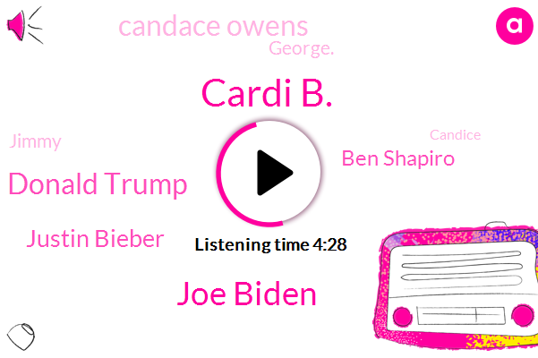 Cardi B.,Cardi,Joe Biden,Donald Trump,Justin Bieber,America,Ben Shapiro,Candace Owens,UK,George.,Hollywood,Jimmy,Georgia,Candice,Philly,Malcolm X.,President Trump