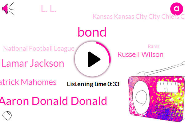 Kansas Kansas City City Chiefs Chiefs,Aaron Aaron Donald Donald,MVP,Lamar Jackson,Patrick Patrick Mahomes,National Football League,Rams,Seattle Seahawks,Russell Wilson,Bond,L. L.