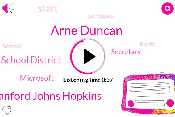 Stanford Johns Hopkins,School District,Arne Duncan,Secretary,Microsoft