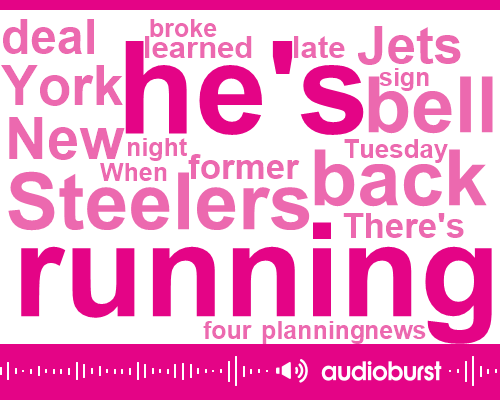 New York Jets,Steelers,Liane Bell,Damien Woody,Bill,Espn,Sam Donaldson Alford,Analyst,Belen,Louis,National Football League,Five Thousand Three Hundred Yards,One Hundred Twenty Nine Yards,Fourteen Million Dollars,Twenty Six Hundred Yards,Twenty-Seven-Year,Four Years